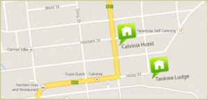 Map of location of country hotels sa